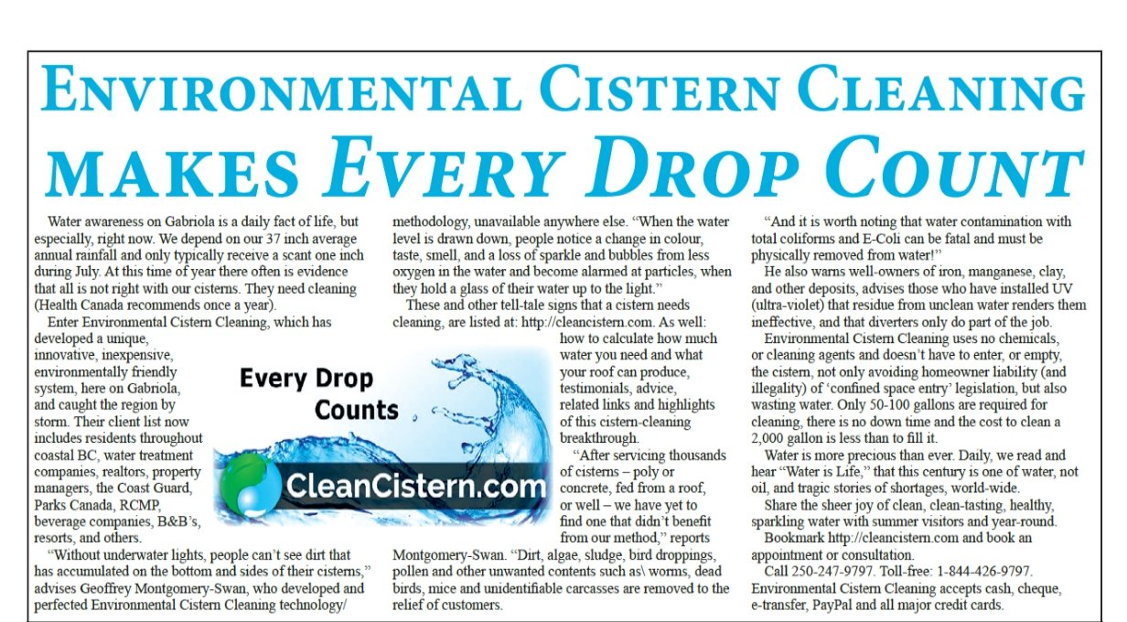 Environmental Cistern Cleaning makes every drop count