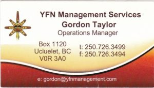 Ucluelet First Nations - Gordon Taylor business card
