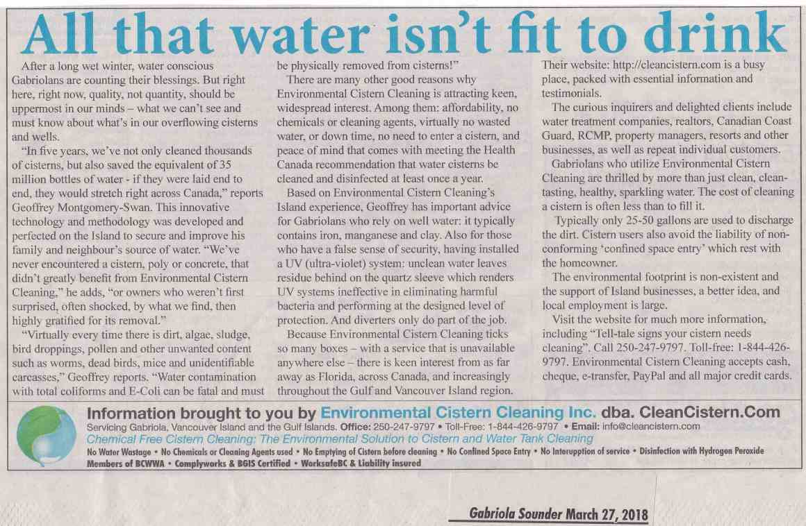 """Advertorial in Gabriola Sounder on March 27, 2018 titled """"All that water isn't fit to drink"""""""